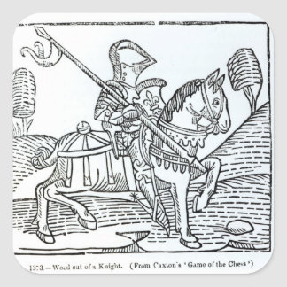 A Knight, from Caxton's 'Game of the Chess' Square Sticker