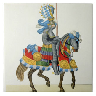A knight on his way to a tournament, plate from 'A Large Square Tile