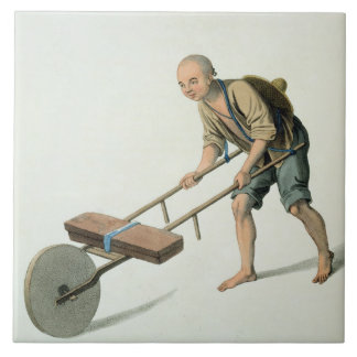 A Labourer, plate 27 from 'The Costume of China', Large Square Tile