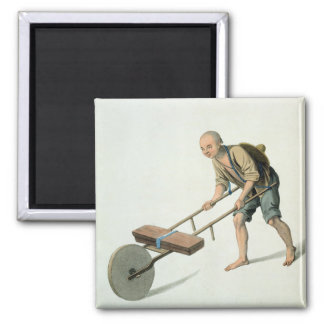 A Labourer, plate 27 from 'The Costume of China', Square Magnet