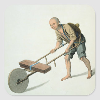 A Labourer, plate 27 from 'The Costume of China', Square Sticker