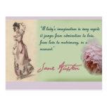 A Ladies Imagination, Jane Austen quote Postcard