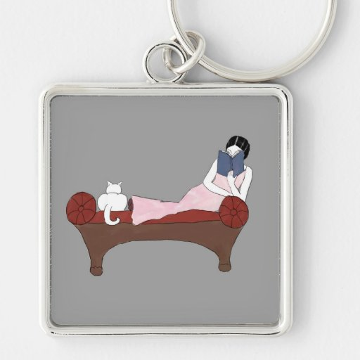 A Lady, A Cat and A Very Good Book Keychain
