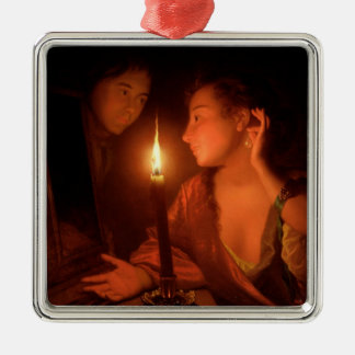 A Lady Admiring An Earring by Candlelight Christmas Ornament