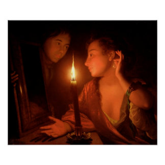 A Lady Admiring An Earring by Candlelight Poster