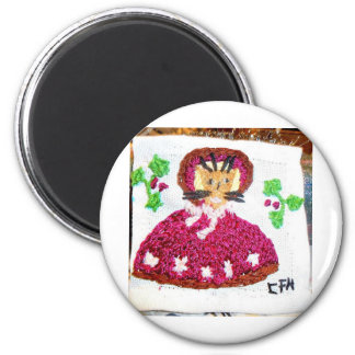 A Lady Cat on a Christmas Visit 6 Cm Round Magnet
