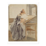 A Lady Copying at a Drawing Table, c.1760-70 (grap