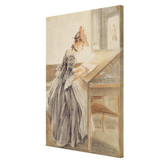 A Lady Copying at a Drawing Table, c.1760-70 (grap Canvas Print