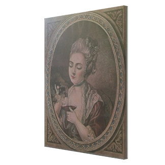 A Lady Drinking Chocolate colour litho Stretched Canvas Print