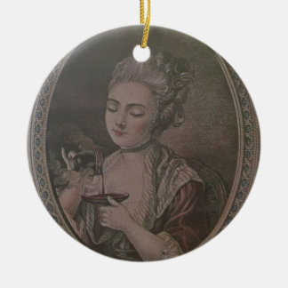 A Lady Drinking Chocolate (colour litho) Round Ceramic Decoration