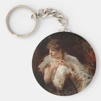 A Lady from Naples - Giuseppe De Nittis Basic Round Button Key Ring