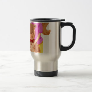 A lady holding a bear stainless steel travel mug