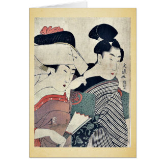 A lady in waiting and her servant Ukiyoe Greeting Card