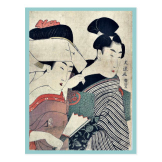 A lady in waiting and her servant Ukiyoe Postcard