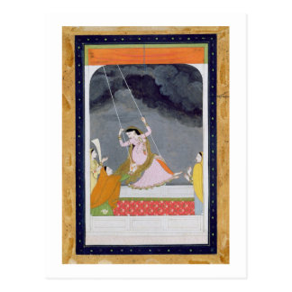 A lady on a swing, Kangra, Punjab hills c.1790 (op Postcard