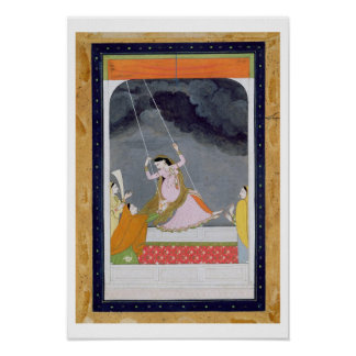 A lady on a swing, Kangra, Punjab hills c.1790 (op Poster