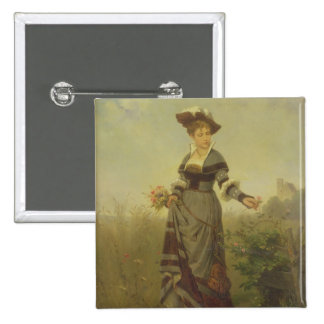 A Lady picking flowers in a landscape (panel) 15 Cm Square Badge
