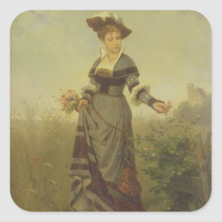 A Lady picking flowers in a landscape (panel) Square Sticker