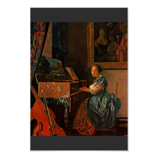 A Lady Seated At A Virginal,  By Vermeer Van Delft Poster