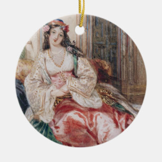 A Lady Seated in an Ottoman Interior Wearing Turki Christmas Ornament