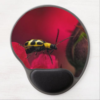 A ladybug on top of a rose gel mousepad