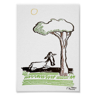 a lamb under a tree poster