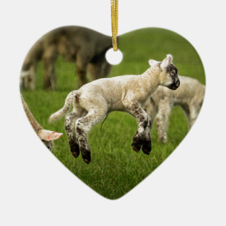 A Lamb with a Spring in Its Step Ceramic Heart Decoration