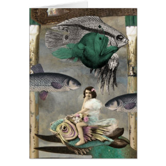 A Land Full of Fish, Digital Collage, Birthday Greeting Card