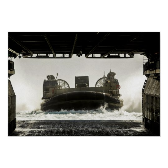 A landing craft air cushion prepares to enter poster