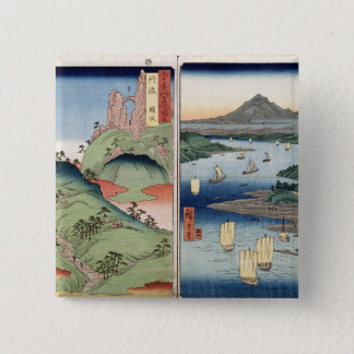 A landscape and seascape 15 cm square badge