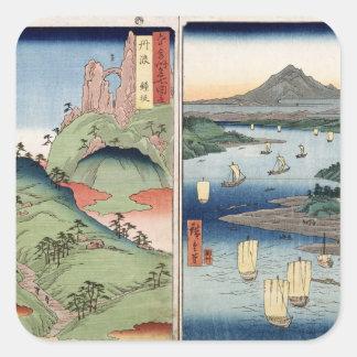 A landscape and seascape square sticker