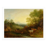 A Landscape with Cattle and Figures by a Stream an