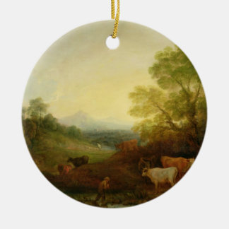 A Landscape with Cattle and Figures by a Stream an Christmas Ornament