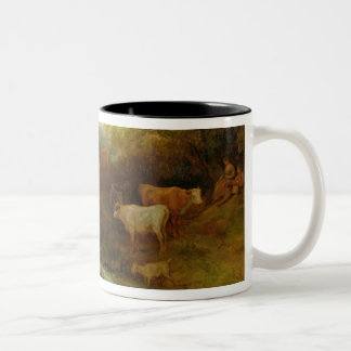 A Landscape with Cattle and Figures by a Stream an Two-Tone Coffee Mug