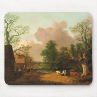 A Landscape with Figures, Farm Buildings and a Mil Mouse Mat
