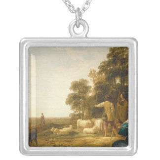 A Landscape with Shepherds and Shepherdesses Silver Plated Necklace