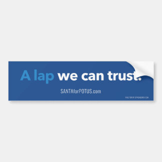 """A lap we can trust"" 11"" x 3"" bumper sticker"