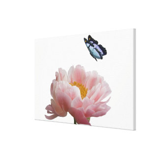 a large pink peony is visited by a ethereal canvas print