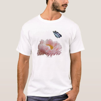 a large pink peony is visited by a ethereal T-Shirt