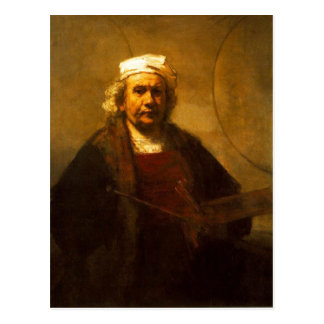 A late self protrait by Rembrandt, from a period w Postcard