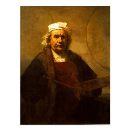 A late self protrait by Rembrandt, from a period w Post Card