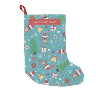 A Lazy Christmas - Sloth Pattern - Custom Name Small Christmas Stocking