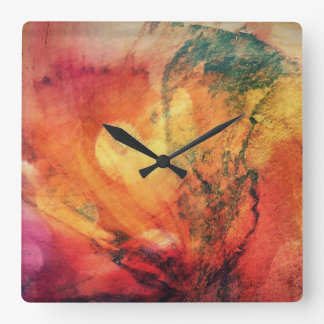 A Leaf In the Wood Autumn Abstract Square Wall Clock