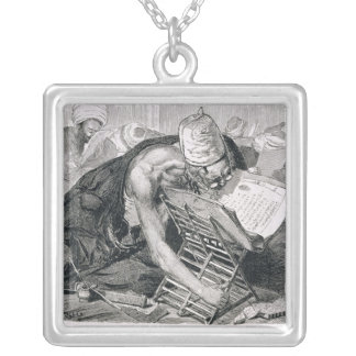 A Learned Man Absorbed in the Koran Silver Plated Necklace
