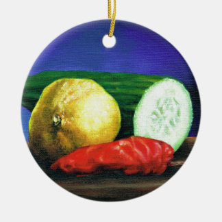 A Lemon and a Cucumber Christmas Ornament