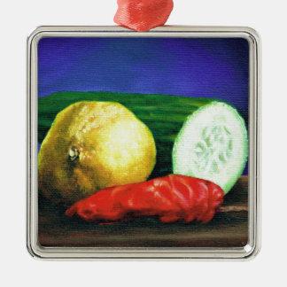 A Lemon and a Cucumber Christmas Ornament
