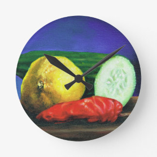 A Lemon and a Cucumber Round Clock
