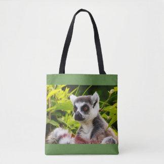 a lemur of madagascar on tote bag