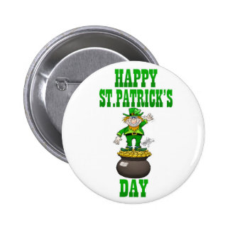 A Leprechaun standing on a pot of gold. 6 Cm Round Badge