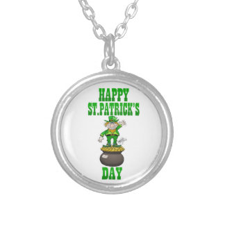 A Leprechaun standing on a pot of gold. Silver Plated Necklace
